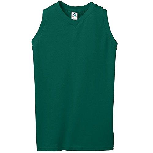 Augusta Sportswear Girls' Sleeveless V-Neck Poly/Cotton Jersey L Dark Green