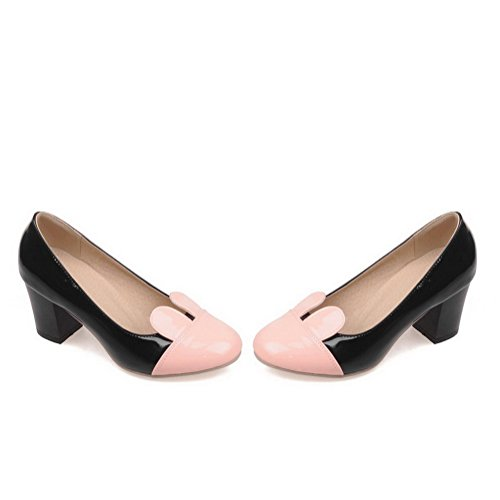 Amoonyfashion Dames Pull-on Ronde Dichte Teen Kitten Hakken Assorti Kleur Pumps-schoenen Zwart
