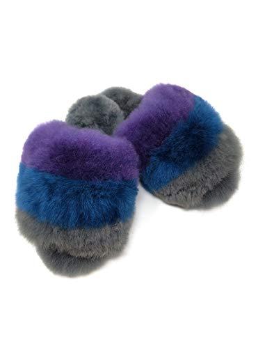 Inca Fashions – Women's Luxury 100% Baby Alpaca Fur Slippers, Striped, Open-Toe House Shoes