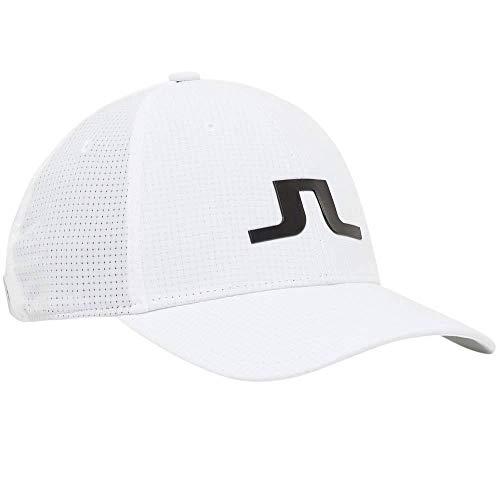 J.Lindeberg Men's Bridge Logo Cap, White One Size