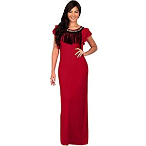 a0afcbda2542f KOH KOH Petite Womens Long Embellished Cap Short Sleeve Evening Gown Sexy  Slimming Party Elegant Cocktail Casual Summer Gown Gowns Maxi Dress Dresses  Women
