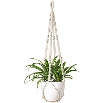 Mkono Macrame Plant Hangers Indoor Hanging Planter Basket Flower Pot Holder Cotton Rope with Beads No Tassels, 35 Inch