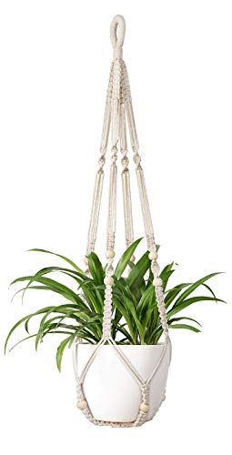 Mkono Macrame Plant Hangers Indoor Hanging Planter Basket Flower Pot Holder Cotton Rope with Beads No Tassels, 35 -