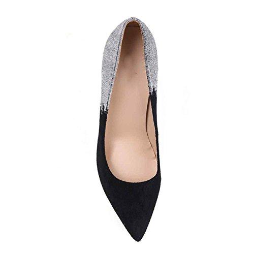 Arc-en-ciel zapatos de las mujeres señalaron las bombas del dedo del pie Negro Blanco