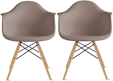2xhome Set of 2 Taupe Gray Mid Century Modern Plastic Dining Chair Molded Arms Armchairs Natural Wood Legs Desk No Wheels Accent Chair Vintage Designer