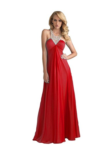 Gowns Red Dresses with 2016 Aurora Halter Sexy Chiffon Prom Back Staps Bridal qgnHxCwS