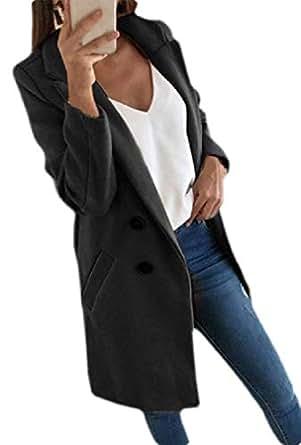 Macondoo Women's Outwear Wool Blended Single Breasted Fall Winter Pea Coat Jacket Black XXS