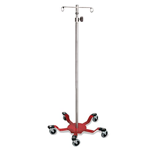 Spider Leg Stainless Steel I.V. Pole 2-Hook Top