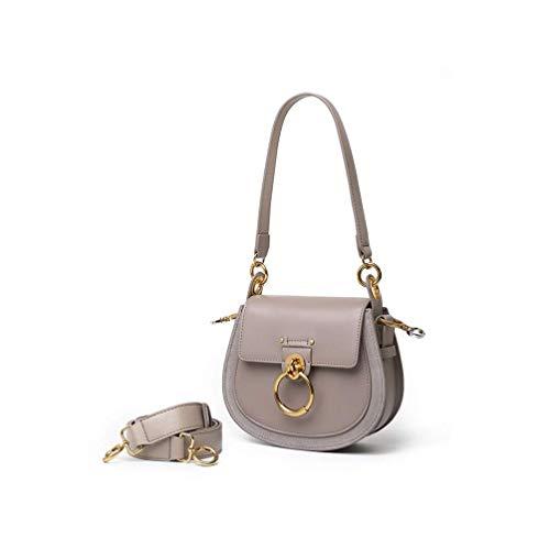 (Lozoco Women's Genuine Leather Contrast Color Circular Ring Saddle Bag Vintage Handbag)