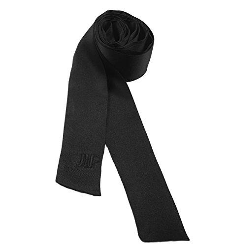 - Luxury Black Silk Charmeuse Long Skinny Scarf
