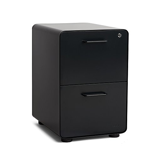 Poppin Black Stow 2-Drawer File Cabinet, Metal, Legal/Letter (Black Vertical 2 Drawer)