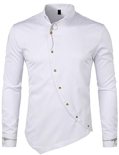 (WHATLEES Mens Hipster Irregular Hem Slim Fit Long Sleeve Banded Collar Dress Shirts with Embroidery T21-White Small)