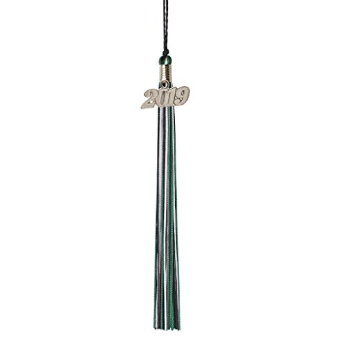 Act Green - Class Act Graduation Black Green and White Graduation Tassel with 2019 Silver Charm