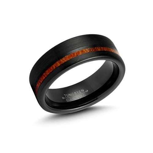LerchPhi Mens 8mm Black Tungsten Carbide Ring Outside Matte Brushed with Wooden Texture Inlay Free Personalized Engrave Supported Comfort Fit Wedding ()