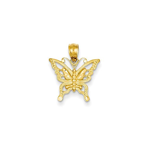 14k Yellow Gold Butterfly Chain (14k Yellow Gold Butterfly Pendant (15 x 18 mm))