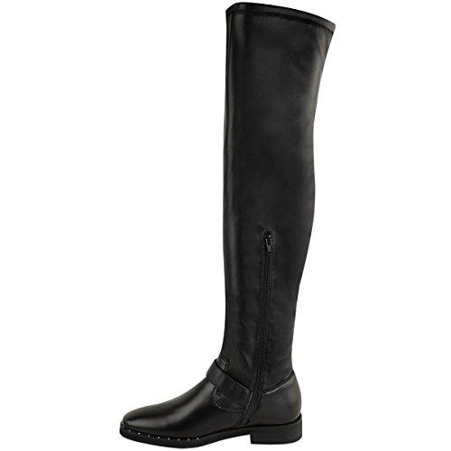 Cuero rodilla sintético la plana Hebilla negro mujeres Botas Tamaño sobre occidental las de Señoras Estiramiento altas naUwO06Cq