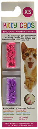 Kitty Caps Kitty Caps Nail Caps for Cats | Safe & Stylish Alternative to Declawing | Stops Snags and Scratches, X-Small (Under 5 lbs), Hot Purple & Hot Pink - Soft Claws Kittens