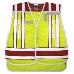 (ML Kishigo 4003BV-2X-4X 400 Series Public Safety Vest FIRE Lime/Red 2X-4X)