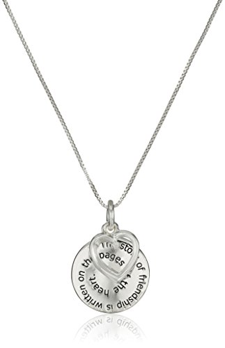 "Sterling Silver""The Story of Friendship"" Disc and Heart Pendant Necklace, 18"""