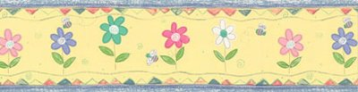 Yellow Bumblebee Daisy Flowers Prepasted Wall Border