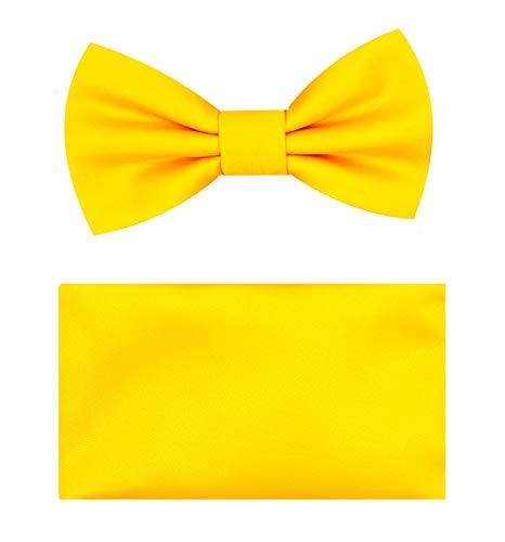Boys Bow Tie Handkerchief Set (Yellow Gold)-J