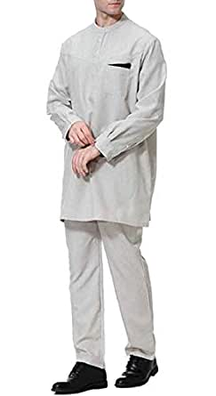 Men's Casual Long Sleeve O-Neck Muslim Arab Robe Ethnic Style Grey X-Small