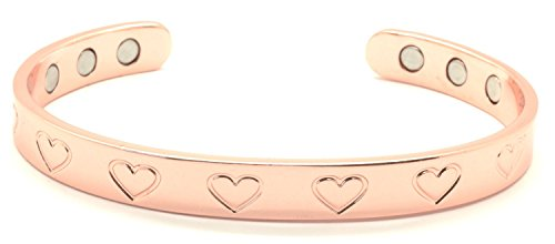 Copper Bracelet for Arthritis; Magnetic Therapy; Beautiful Heart Design; Commonly Worn for Pain Relief and Magnetic Healing; Can Also be Worn as an Accessory