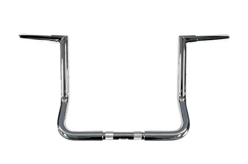 Dominator Industries 1 1/4 inch, Miter Cut Bagger Ape Handlebar, 12 inch Rise, Chrome for 1996-2018 Electra Glide (FLH), Electra Glide Classic (FLHTC), and Street Glide (FLHX) (12 Inch Ape Hangers For Ultra Classic)