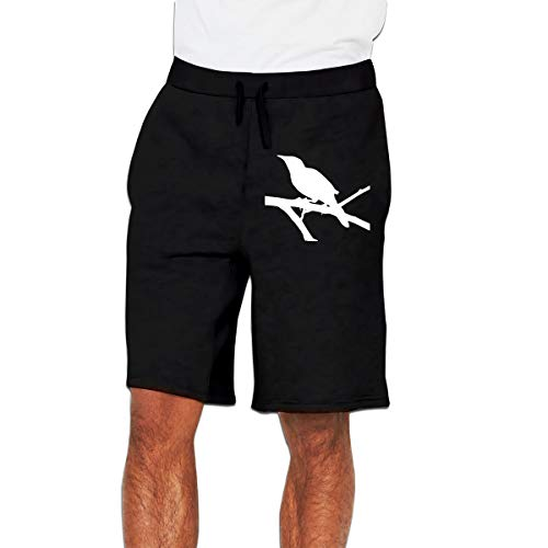 Mockingbird Clipart Bird Pants Men's Sports Trousers Jogger Gym Shorts Black