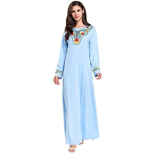 Women Muslim Robe, Lady Summer Embroidered Maxi Dress Abaya Islamic Dubai Kaftan Ramadan Middle Eastern National Long Sleeve Lace Dress lkoezi