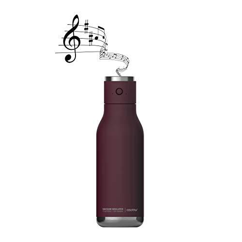 Asobu Wireless Speaker Double Wall Insulated Stainless Steel Water Bottle 17 Ounce (Burgundy)