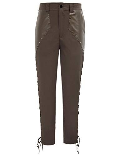 Men's Steampunk Pants Viking Pirate Costume Renaissance Gothic Pants Brown M]()