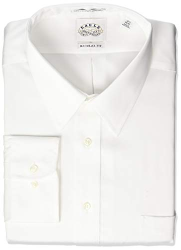 (Eagle Men's Non Iron Regular Fit Solid Point Collar Dress Shirt, White, 17.5
