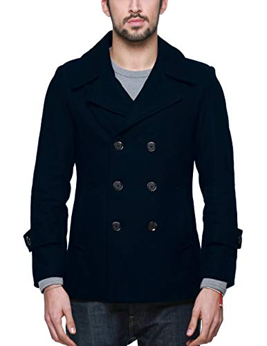 Match Mens Wool Blend Classic Pea Coat Winter Coats(010, Navy Small)