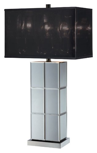 Lite Source LS-21986 Table Lamp, Mirror Body with Black Shade (Billiard Pewter Table)