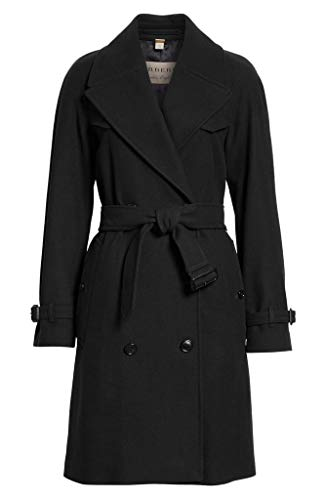 BURBERRY Cranston Wool Blend Belted Double Breasted Trench Coat in Black