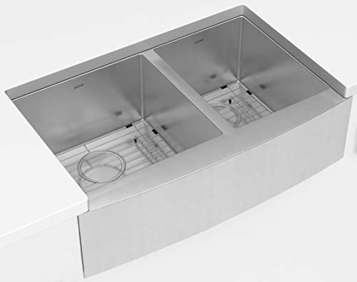 ZUHNE Turin 33 Inch Farmhouse Apron Front 60/40 Deep Double Bowl 16 Gauge Stainless Steel Kitchen Sink with Grate Protector, Two Drain Strainers and Sink Caddy (Farmers Kitchen Sink)