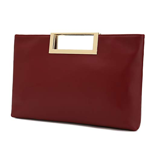 - Charming Tailor Fashion PU Leather Handbag Stylish Women Convertible Clutch Purse (Burgundy)