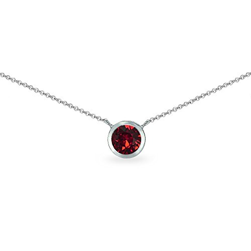 Sterling Silver Red 6mm Round Bezel-Set Dainty Choker Necklace Made with Swarovski Crystals