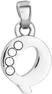 قلادة حرف كيو مطلية بالبوديوم للنساء، فضي، 1 سم x 1 سم