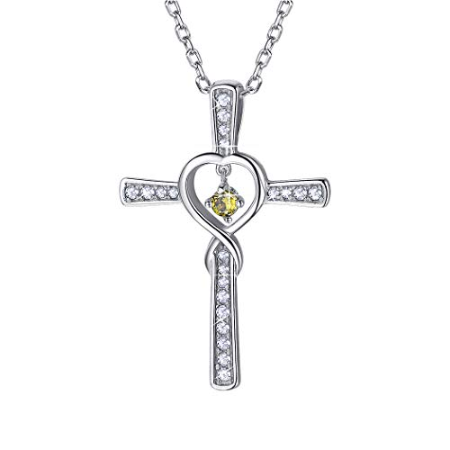 Birthstone Cross Necklace August Sterling Silver Birthday Gift Peridot CZ Love Heart Infinity Necklace for Women/Girls