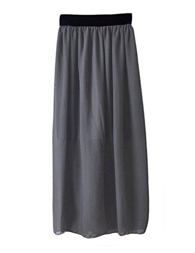 Fonc Jupe Femme Taille Legou Gris pliss Longue Haute v0aqqdw5x