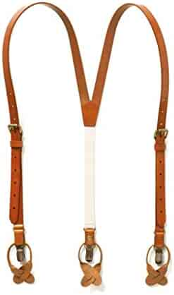 5a36eb933 JJ SUSPENDERS Genuine Leather Suspenders For Men with Elastic Strap   Dual  Clips