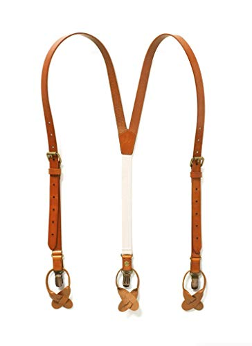 JJ SUSPENDERS Genuine Leather Suspenders For Men with Elastic Strap & Dual Clips (Tan)