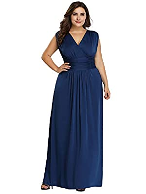 Ever-Pretty Women's Plus Size V-Neck Wrap Dress Long Formal Evening Dress 07661