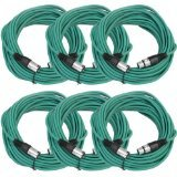 SEISMIC AUDIO - SAXLX-50 - 6 Pack of 50' Green XLR Male to XLR Female Microphone Cables - Balanced - 50 Foot Patch Cords