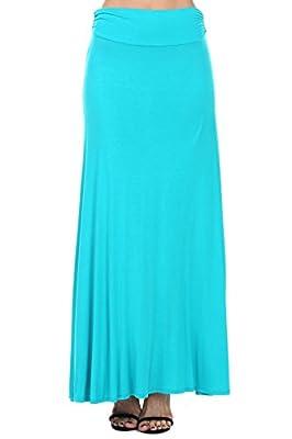 coul J Women's Rayon Span Fold Over Waist Long Maxi Skirt (Plus Size)