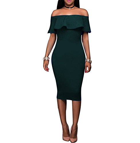 (Women's Off Shoulder Ruffles Back Split Slim Stretch Cocktail Party Bodycon Midi Dress M Dark Green)