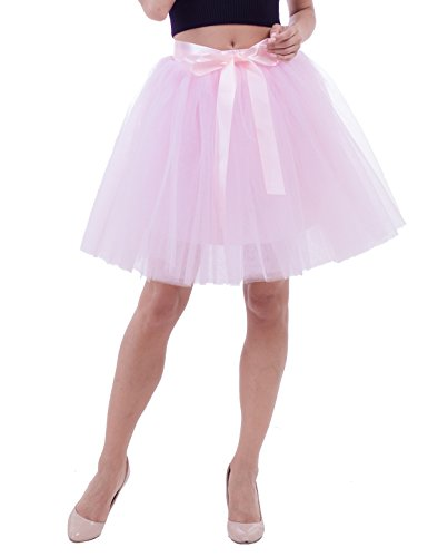 Women's High Waist Princess Tulle Skirt Adult Dance Petticoat A-line Wedding Party Tutu(Pink),One (Fashion Tutu Skirts For Adults)