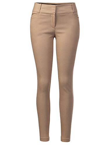 (Design by Olivia Women's Classic Slim Skinny Solid Casual High Waisted Business Office Pants Khaki S)